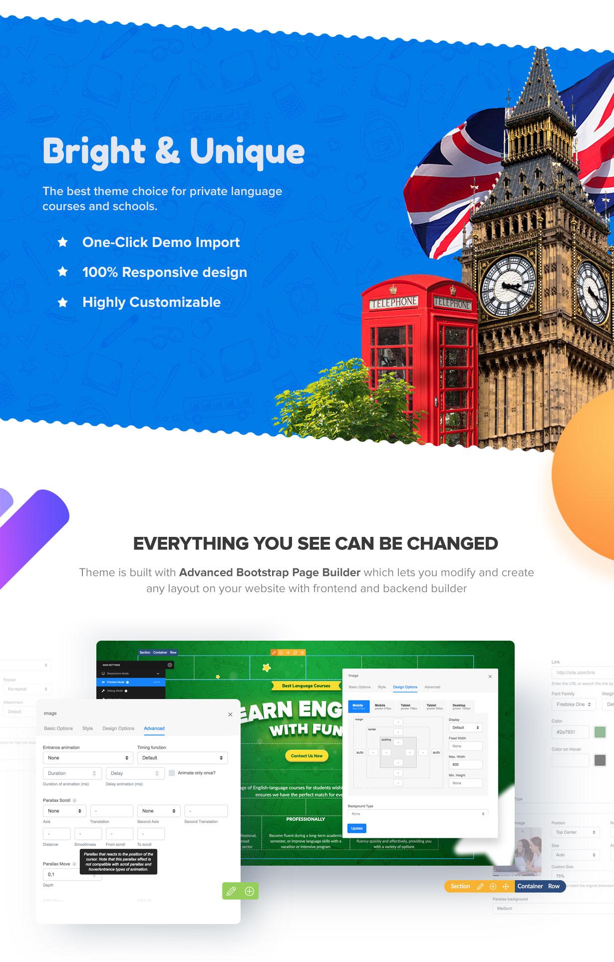 Greenwich –  Language School WordPress Parallax Theme (Education)